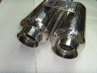 Универсальный прямоточный глушитель Simota, две трубы на кронштейне, сопло прямое, круглое