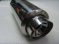 Универсальный прямоточный глушитель Simota, сопло круглое, короткое со скосом, диаметр большой.