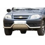 """Защита переда с дополнительной защитой двигателя """"Волна"""" нержавейка на ВАЗ 2123 Шевроле Нива RS  (restyling. с 2009)"""