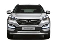 Защита переднего бампера двойная d51-63мм на Hyundai Santa Fe