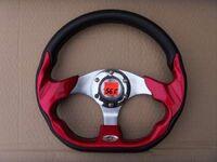 """Спортивный руль """"Red Steel"""" для автомобилей ВАЗ красный, вставка по бокам и снизу."""