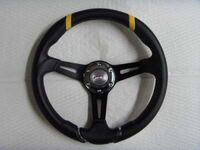 """Спортивный руль """"Black and  Yellow""""для автомобилей ВАЗ чёрный, с желтыми вставками."""