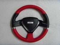 """Спортивный руль """"Red Heart"""" для автомобилей ВАЗ красный, вставка на дуге сверзу и в нижней часте, сердцевина треугольной формы."""
