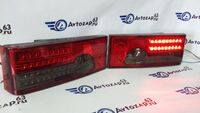 Светодиодные фонари с бегающими поворотниками красные с серой полосой на ВАЗ 2108-2109, 2113, 2114