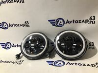 Светодиодные фары 80W черные с кольцом повторителя поворота и ДХО на ВАЗ 2101, 2102, Лада Нива 4х4, УАЗ