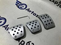 Накладки на педали Sal-Man серебристые на ВАЗ 2108-2115, Лада Калина, Гранта, Приора